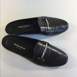 Charles David Black Leather Mules size 39